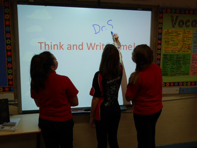 Children working at the Whiteboard