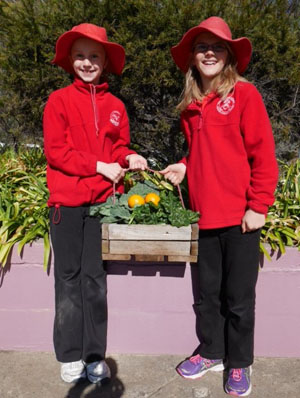 Children with produce from the Sustainability Centre